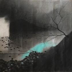沈勤, 山, 纸本水墨, 58×41cm, 2015